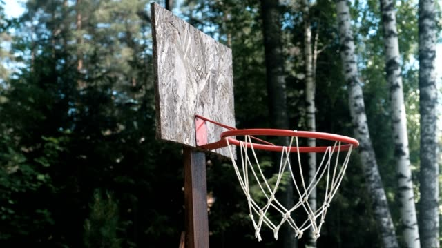 Basketball-ring-in-the-Park-among-the-trees-close-up-