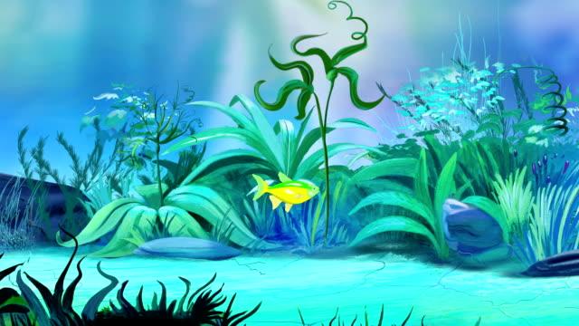 One-Small-green-yellow-aquarium-fish-in-a-tank