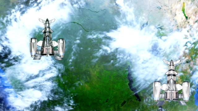 Raumschiffe-fliegen-über-die-Erde-Abstract-Background