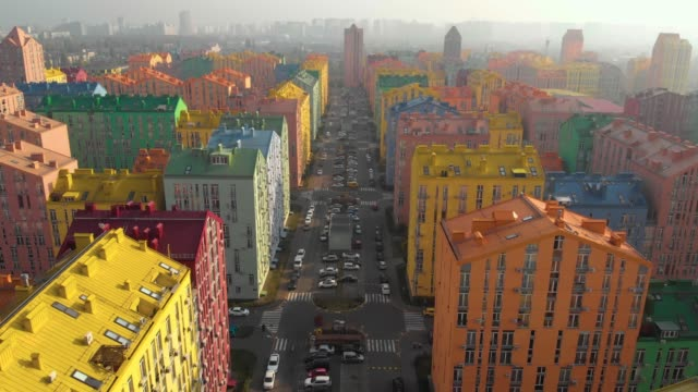 Residential-area-with-colorful-houses-aerial-view