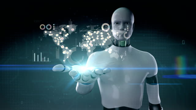 Robot-Palma-abierta-de-cyborg-conecta-gente-de-mundo-utilizando-tecnología-de-comunicación-Película-de-tamaño-de-4K-con-diagrama-económico-tabla-medios-de-comunicación-social-