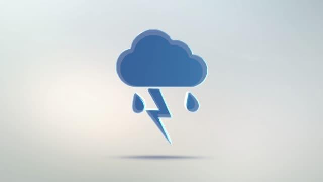 El-tiempo-en-icono-nube-de-cristal-transparente-Rotar-el-símbolo-de-una-nube-de-lluvia-y-relámpago-con-un-canal-alfa