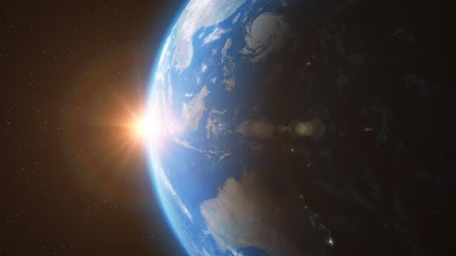 Tierra-desde-el-espacio-con-la-luz-del-sol-estrellas-día-Night---animación-3D-4K