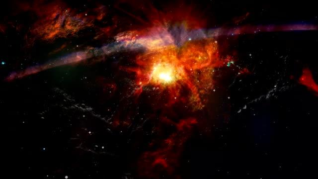 Animación-de-paralaje-de-estrellas-y-nubes-de-polvo-de-movimiento-Fondo-del-espacio-con-nebulosa-estrellas-y-destello-de-lente-flash-para-uso-en-proyectos-de-ciencia-Los-elementos-de-esta-imagen-proporcionada-por-la-NASA-
