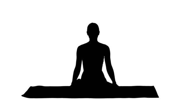 Silhouette-Sporty-attractive-woman-practicing-yoga-sitting-in-Lotus-exercise-Siddhasana-pose-breathing