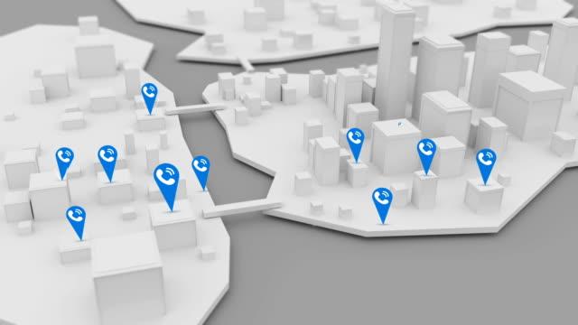 Iconos-de-teléfono-de-negocio-apareciendo-a-lo-largo-de-ciudad-3D
