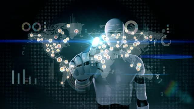 Roboter-Cyborg-berühren-verbunden-Menschen-der-Welt-mit-Kommunikation-Technologie-4K-Größe-mit-wirtschaftlichen-Diagramm-Diagramm-soziale-media-1-
