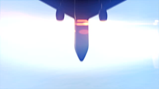 Airplane-passing-overhead-in-slow-motion-