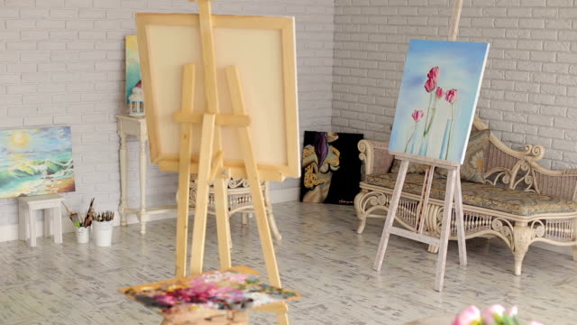 Studio-with-pictures-and-easels-Art-Background-