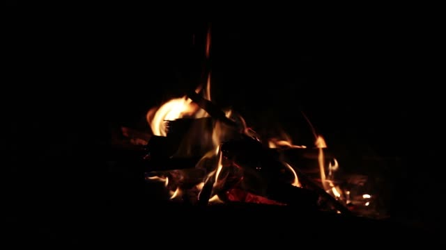 A-small-fire-blown-by-a-strong-wind-in-the-dark