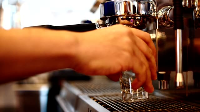 Full-process-of-making-coffee-coffee-espresso-shot-by-streaming-machine