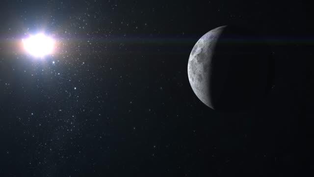 Acercarse-a-la-luna-La-cámara-vuela-alrededor-La-luna-se-mueve-hacia-abajo-de-la-pantalla-Vista-desde-el-espacio-Centellean-de-estrellas-4K-