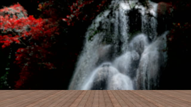Wooden-floor-on-background-waterfall-slow-motion
