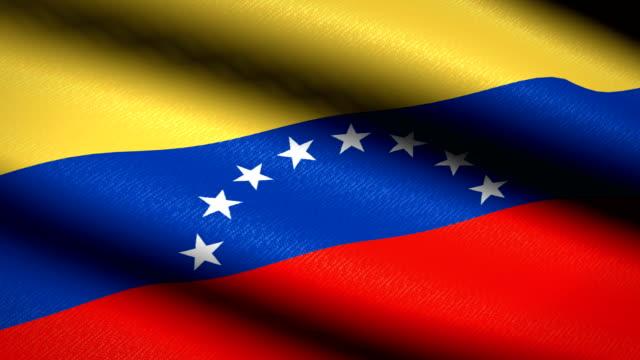 Bandera-de-Venezuela-ondeando-textil-textura-de-fondo-Seamless-Loop-animación-Pantalla-completa-Cámara-lenta-Vídeo-de-4-K
