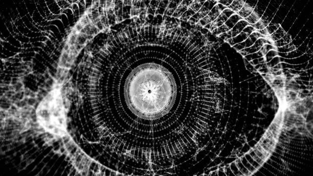 Vergrößern-Sie-polygonale-Auge-3D-Animation-4k-Video-Clip-gerendert-