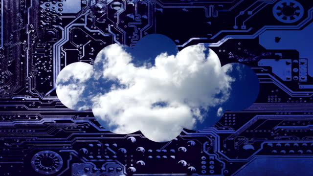 Cloud-computing-conceptual-video-Deep-blue-sky-with-clouds-time-laps-in-a-cloud-on-a-circuit-board-background-The-silhouette-of-the-cloud-is-placed-below-to-leave-free-space-above-it-for-your-text-