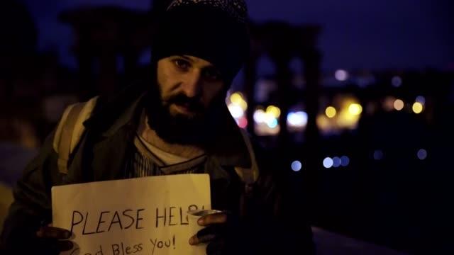 despair-misery-marginalization--Sad-lonely-beggar-in-the-street-at-night