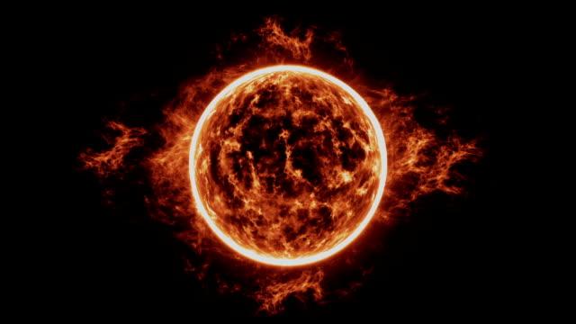 Superficie-del-sol-con-las-llamaradas-solares-con-toques-de-prominencias-óseas-Quema-de-sol-sobre-fondo-negro