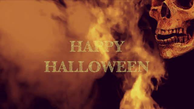 Halloween-Talking-skull-in-smoke-on-black-background-