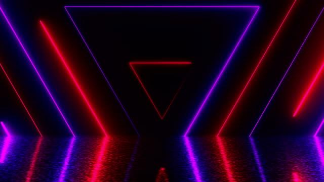 Túnel-de-neón-de-triángulos-abstractos-con-reflexión-generados-por-computadora-fondo