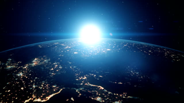 Sunrise-of-the-blue-digital-sun-above-the-Earth-from-space
