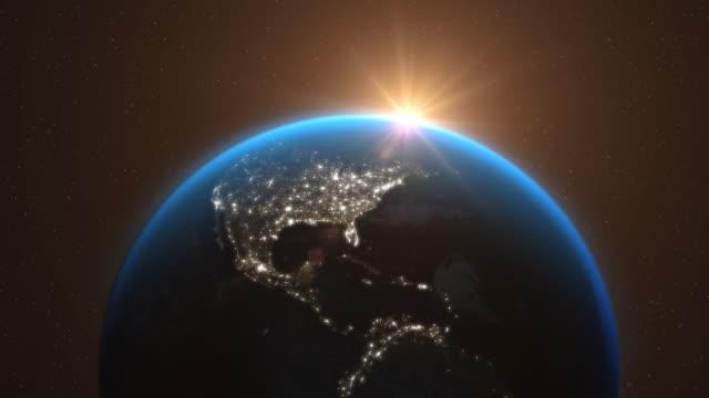 Erde-aus-dem-Weltraum-mit-Sonnenlicht-Sterne-Tag-Nacht---3D-Animation-4K