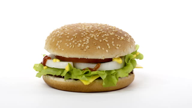 Rotation-Appetizing-burger-on-a-white-background