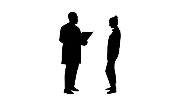 Silhouette-Physician-showing-a-patient-the-X-ray-results-Then-patient-leaves
