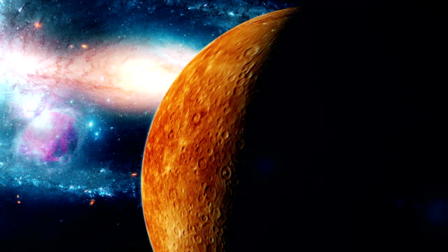Realistic-beautiful-planet-Mercury-from-deep-space