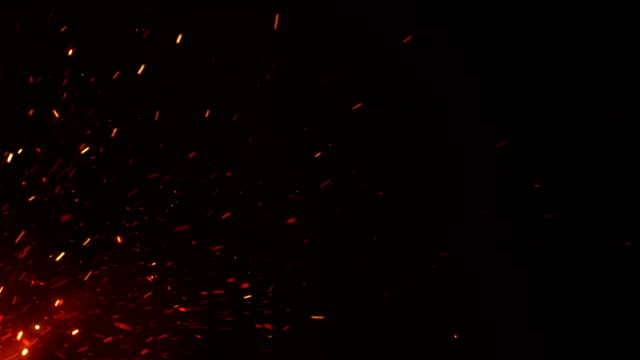 Beautiful-Burning-Hot-Sparks-Rising-from-Large-Fire-in-Night-Sky-Abstract-Isolated-Fire-Glowing-Particles-on-Black-Background-Flying-Up-Looped-3d-Animation-