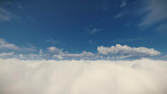 Flight-above-beautiful-clouds-against-blue-sky-4K