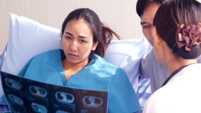 Mujer-embarazada-consultar-a-médico-con-emoción-grave-Médico-explique-a-la-mujer-embarazada-acerca-de-su-problema-en-el-hospital-Personas-con-concepto-sanitario-y-médico-