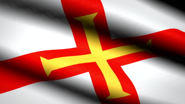 Guernsey-Flag-Waving-Textile-Textured-Background-Seamless-Loop-Animation-Full-Screen-Slow-motion-4K-Video