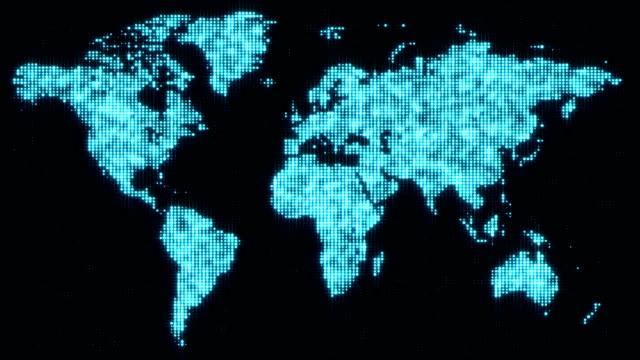 Digital-blue-world-map-in-flickering-dots-