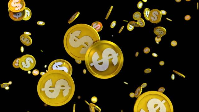 3D-Animation-des-Dollar-Münzen-fallen-auf-einem-schwarzen-Hintergrund-mit-alpha