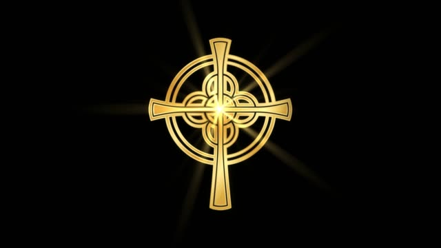 Magical-Particle-Dust-Animation-of-Religious-Celtic-Cross-Sign-with-Rays-