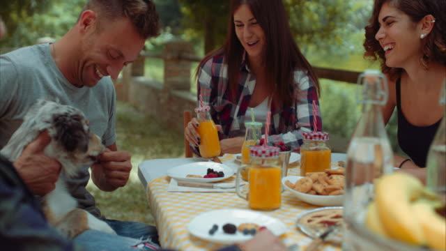 Gruppe-von-Freunden-Frühstück-im-freien-in-einer-traditionellen-Landschaft-zu-tun-in-Zeitlupe-erschossen