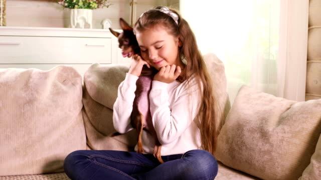 Kleine-Mädchen-spielen-mit-Toy-Terrier-Welpen