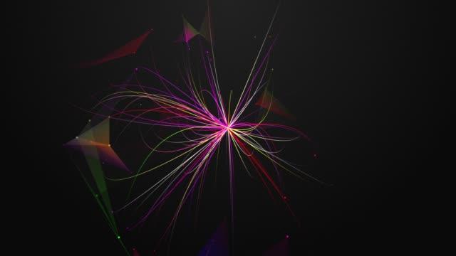 Abstracción-geométrico-coloridos-composición-con-triángulos-líneas-bokeh-y-haces