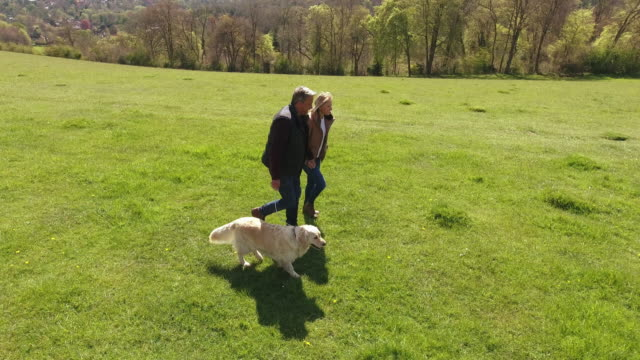 Aerial-Shot-Of-Mature-Couple-And-Dog-On-Walk-In-Countryside