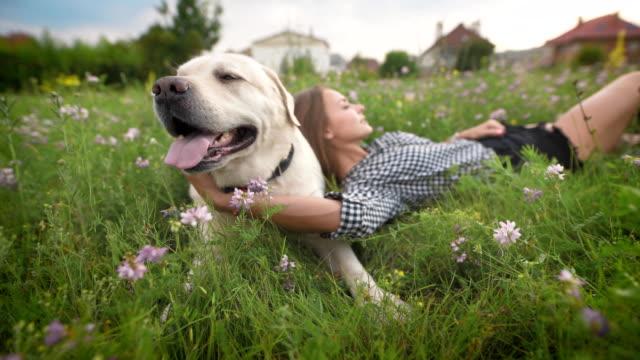 weißen-Labrador-und-junge-Frau-ruhen-in-blühenden-Rasen-in-Landschaft-im-Sommer