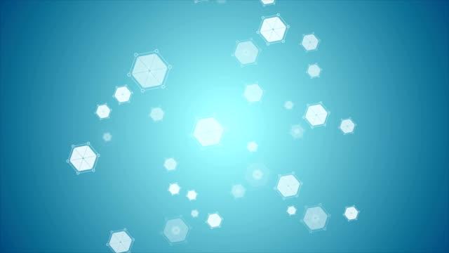 Hexágono-abstracta-azul-moléculas-tecnología-vídeo-de-animación