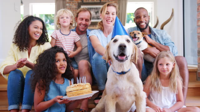 Two-families-celebrating-a-pet-dogÕs-birthday-at-home