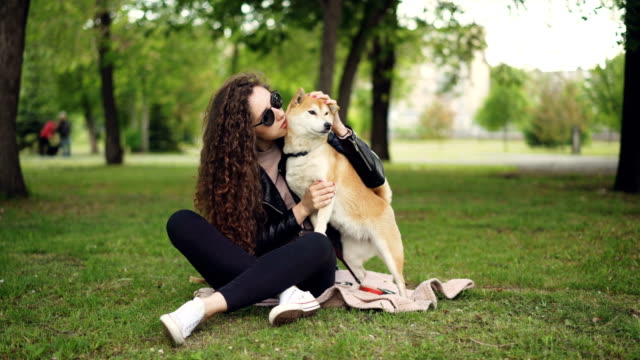 Happy-girl-proud-dog-owner-is-caressing-and-kissing-her-pet-sitting-on-grass-in-the-park-while-the-animal-is-enjoying-love-and-care-Green-trees-and-lawns-are-visible-