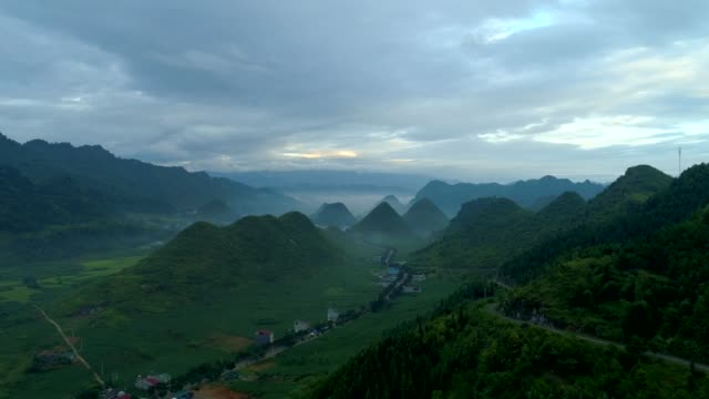 Aerial-view-4k-video-by-drone-morning-mountain-in-Tam-Son-town-Quan-Ba-District-Ha-Giang-