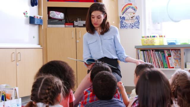 Grundschullehrerin-liest-eine-Geschichte-für-Schüler-lockdown