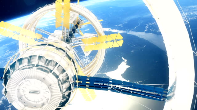 Space-station-flies-around-the-Earth-Beautiful-detailed-animation-