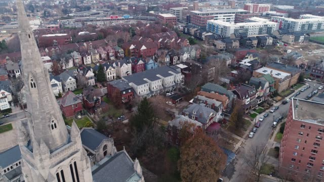 Aerial-View-of-Church-and-Residential-Neighborhood-in-Pittsburgh