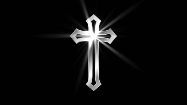 Magical-Particle-Dust-Animation-of-Religious-Jesus-Cross-Sign-with-Rays-