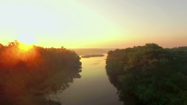 aerial-view-of-river-at-sunrise